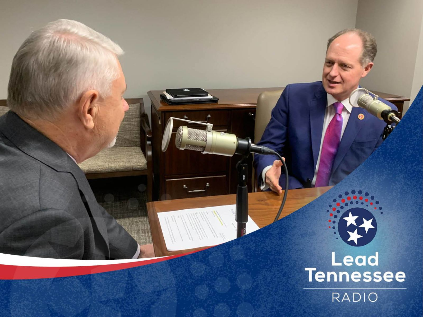 Tennessee Senate Majority Leader Jack Johnson Ken Yager recording a podcast