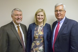 Amanda Martin (center) recently visited with TTA Executive Director Levoy Knowles (left) and HTC CEO Mark Patterson at the association's annual Day On The Hill.