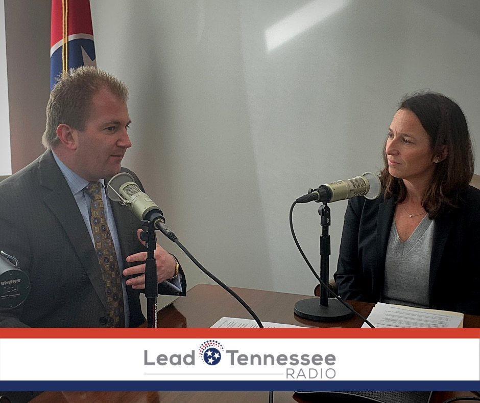 State Representative William Lamberth and Kim Adkins sitting at a table recording a podcast