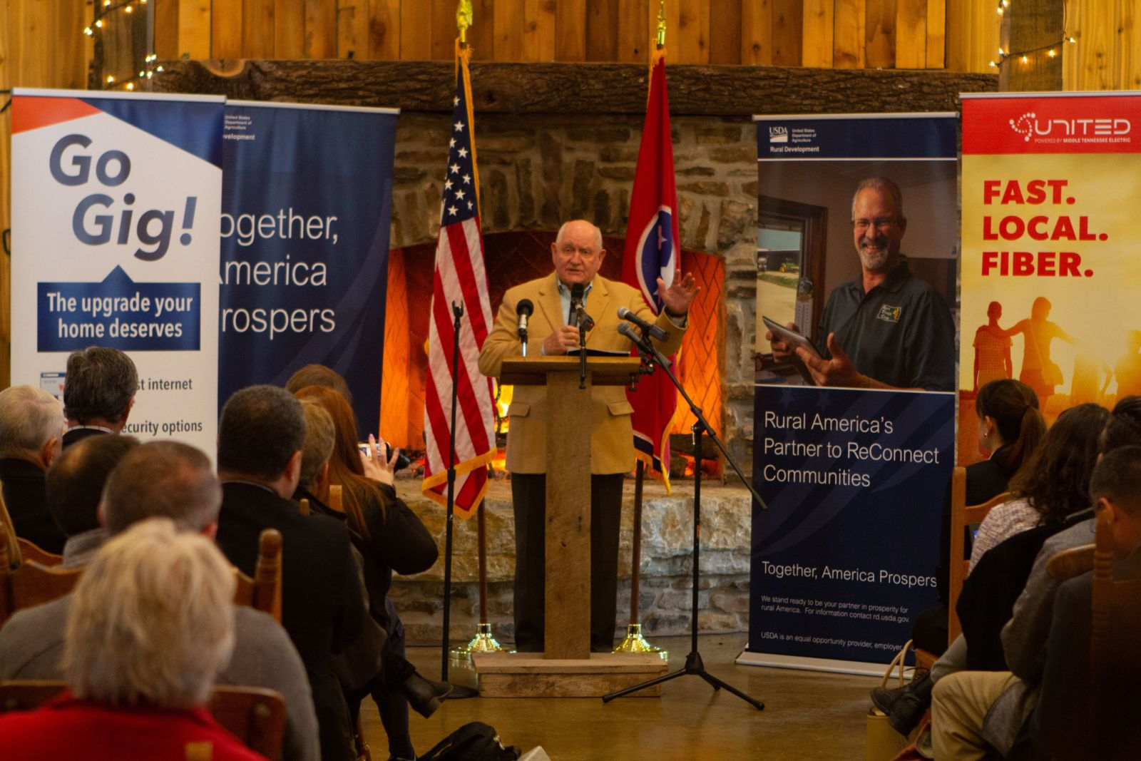 Secretary of Agriculture Sonny Perdue speaking at press conference