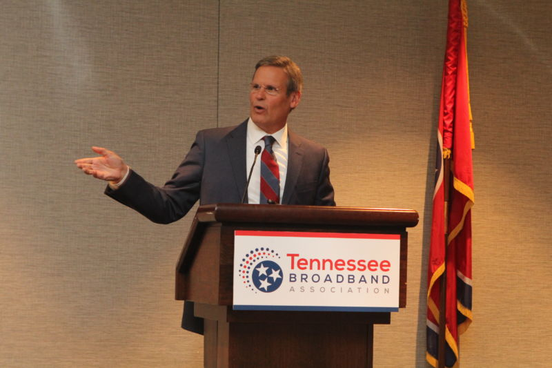 a man speaking at the Tennessee Broadband Association conference