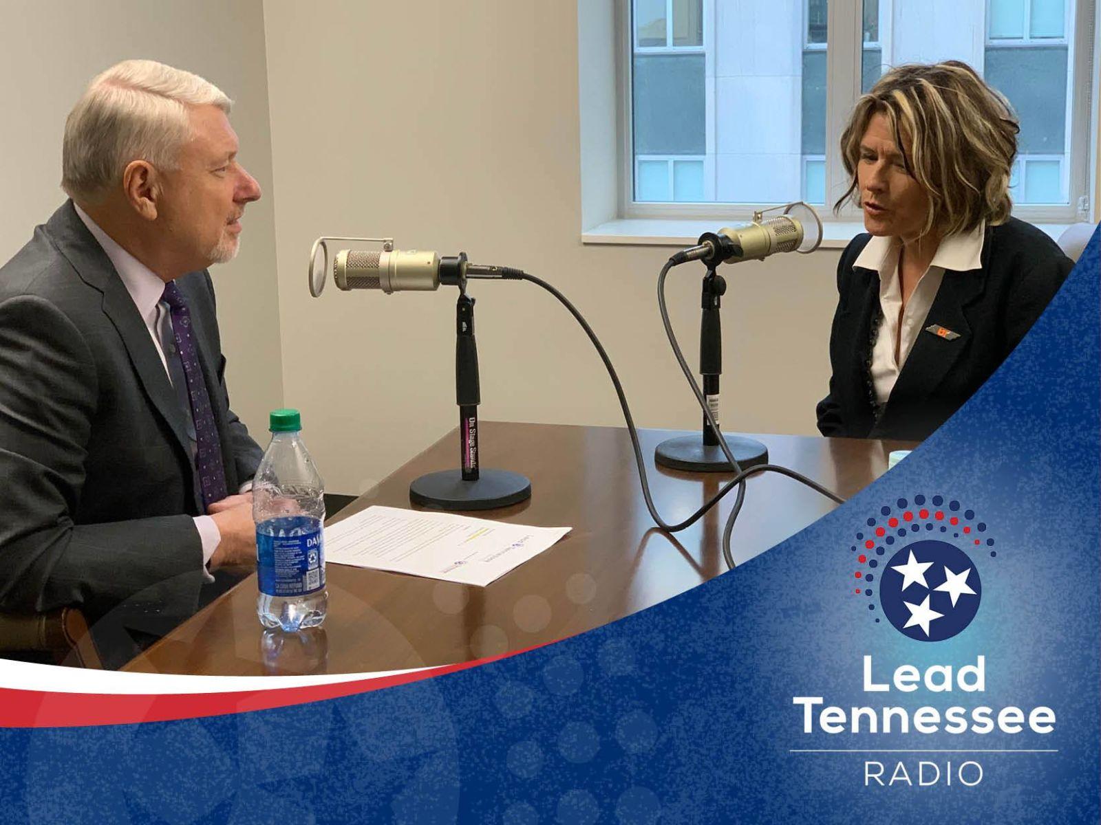 Tennessee State Representative Terri Lynn Weaver recording a podcast