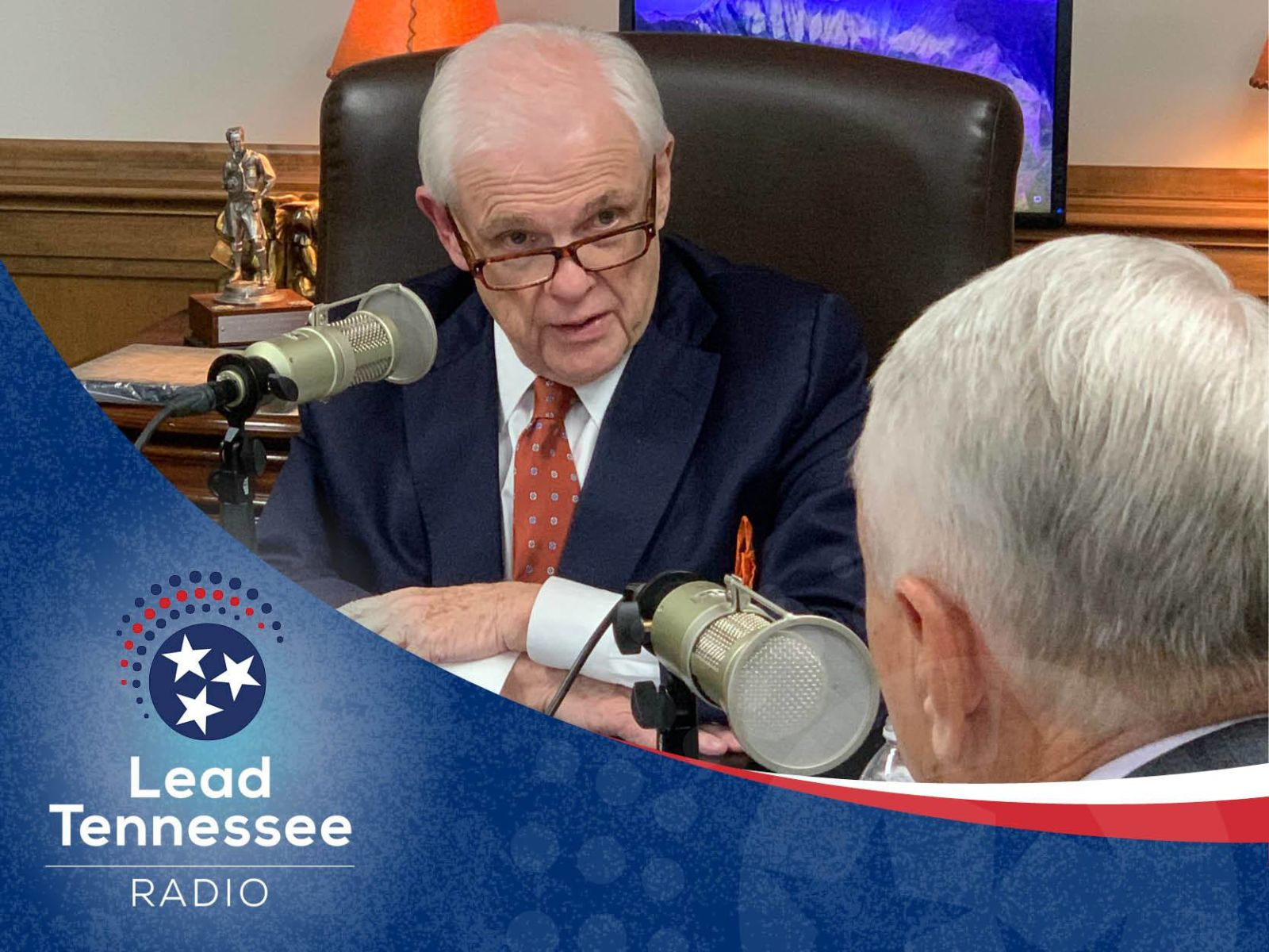 Tennessee Senate Majority Caucus Chairman Ken Yager recording a podcast