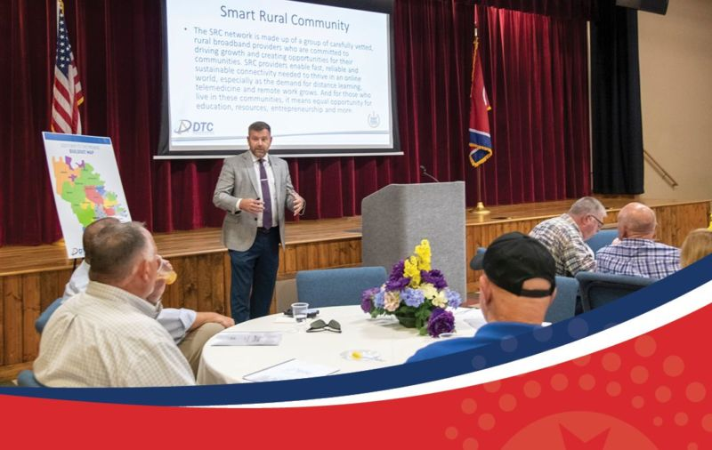 man presenting on smart rural community benefits